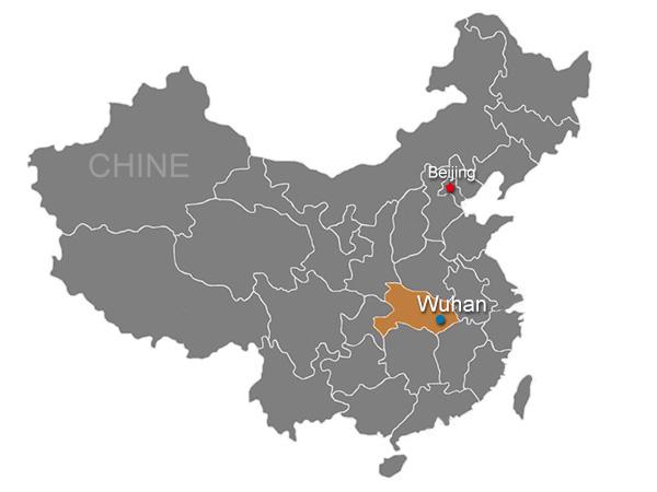 Carte de Wuhan en Chine